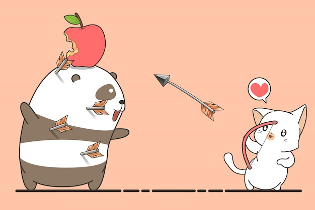 Adorable archer cat is shooting an apple
