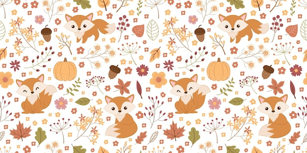 Adorable autumn season seamless pattern for children fabric wallpaper and many more