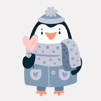 Adorable baby animal penguin character