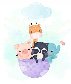 Adorable baby animals illustration for children
