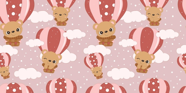 Adorable baby bear pattern for children fabric wallpaper and many more