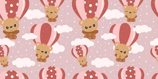 어린이 패브릭 벽지 등을 위한 사랑스러운 아기 곰 패턴