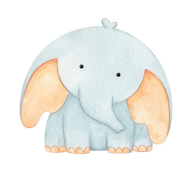水彩で手描きの愛らしい象の赤ちゃん