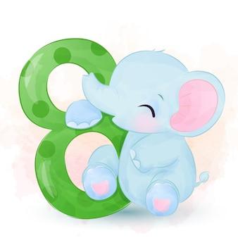 Очаровательны слоненок иллюстрация в акварели