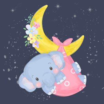 Adorable baby elephant illustration
