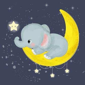 Очаровательный слоненок играет с луной и звездами
