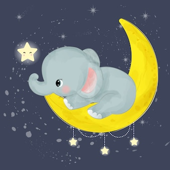 Adorable baby elephant playing with moon and stars