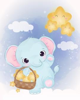 별을 가지고 노는 사랑스러운 아기 코끼리
