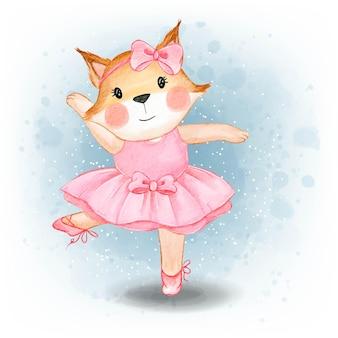 귀여운 아기 여우 춤 발레리나 수채화