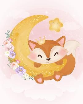 Очаровательный лисенок играет с луной