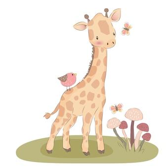 Adorable baby giraffe illustration