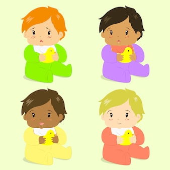 Adorable baby girls vector collection
