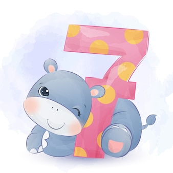 Adorable baby hippo illustration in watercolor