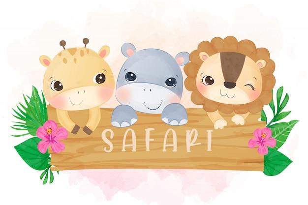 사랑스러운 아기 사자, 기린 및 하마 수채화
