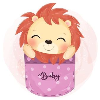 水彩で愛らしい赤ちゃんライオンのイラスト