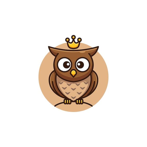 Adorable baby owl king cartoon logo