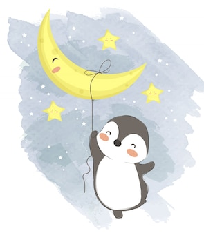 Adorable baby penguin hanging with the moon