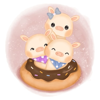 Adorable baby pigs illustration for nursery decoration