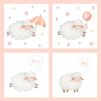 Adorable baby sheep, cute sheep , illustration on white background, childish illustration, childish design