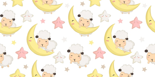 Adorable baby sheep and moon seamless pattern