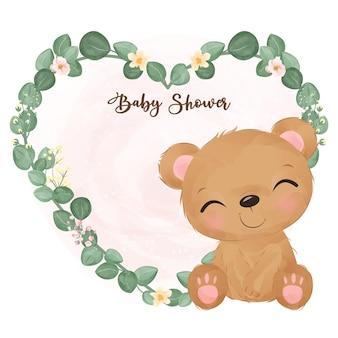 수채화 그림에서 사랑스러운 베이비 샤워 장식