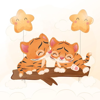 Adorable baby tiger together in watercolor illustration