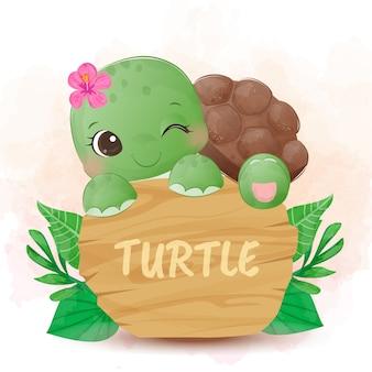 Очаровательная черепаха акварель