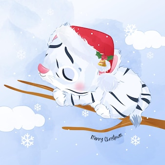 Adorable baby white tiger for christmas illustration