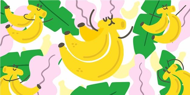 귀여운 바나나 배경 낙서 패턴 비디오