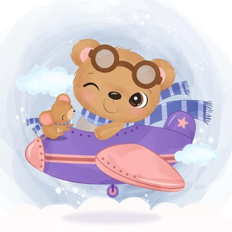 Adorable bear flying with an airplane in watercolor illustration