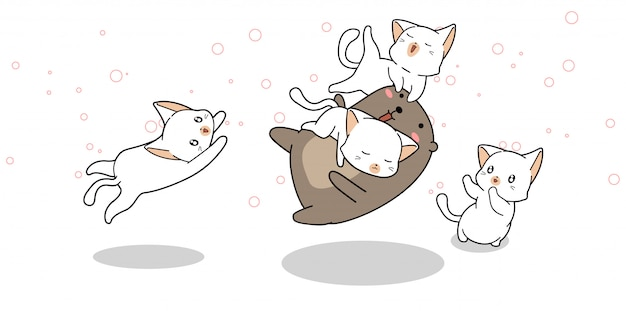 Adorable bear is playing with cats in cartoon style