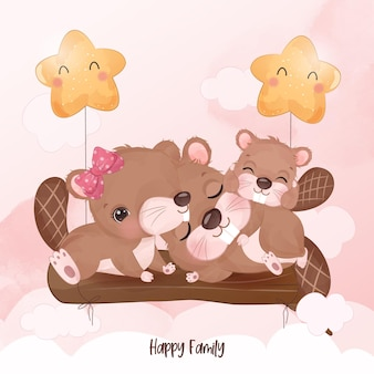 Adorable beaver family in watercolor illustration