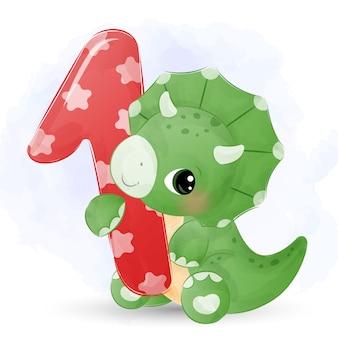 愛らしい誕生日恐竜の水彩画