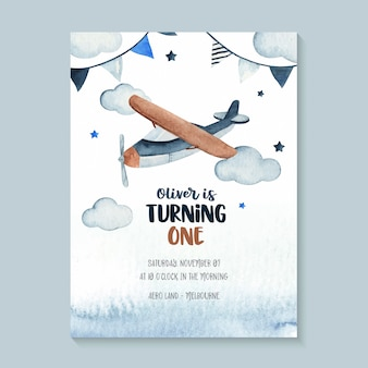 Adorable birthday invitation with airplane, garland, stars and clouds. watercolor sky scene illustration perfect for birthday