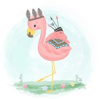 Очаровательная иллюстрация boho фламинго
