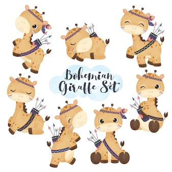 Adorable boho giraffe illustration set