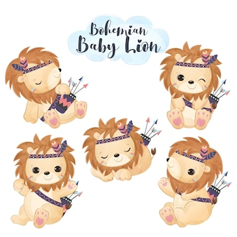 Adorable boho lion illustration set