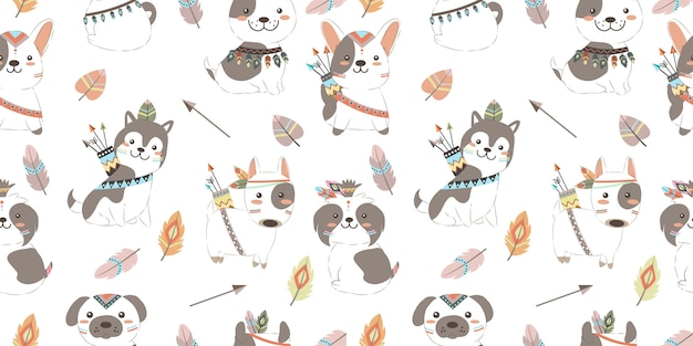Adorable boho puppies in seamless pattern