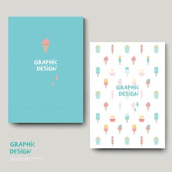 Adorable brochure template design with ice cream set