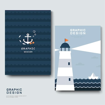 Adorable brochure template design with lighthouse and boat