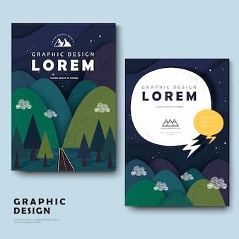 주위 산들과 사랑스러운 브로슈어 서식 파일 디자인