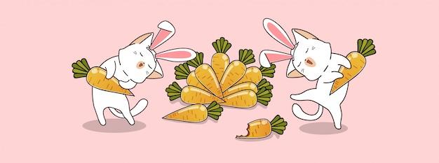 愛らしいウサギの猫はニンジンを食べることを楽しむ
