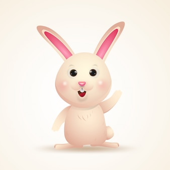 Adorable bunny character. happy easter day cartoon isolated.