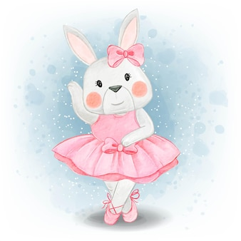 Adorable bunny rabbit dancing ballerina watercolor
