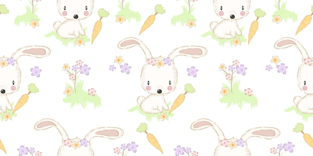 Adorable bunny with carrot seamless pattern