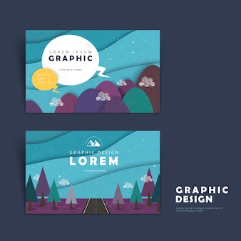 Adorable business card template design with mountains around
