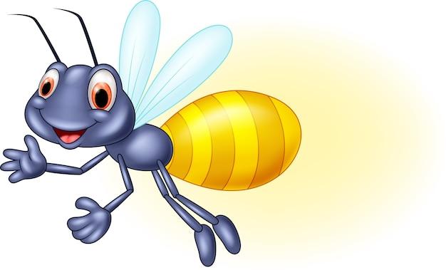 Adorable cartoon firefly waving