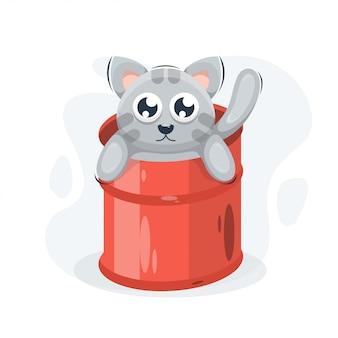 Adorable cat in the bucket cartoon