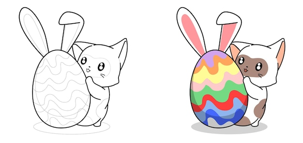 Adorable cat and bunny egg for easter day cartoon coloring page for kids