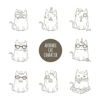 Adorable cat character set